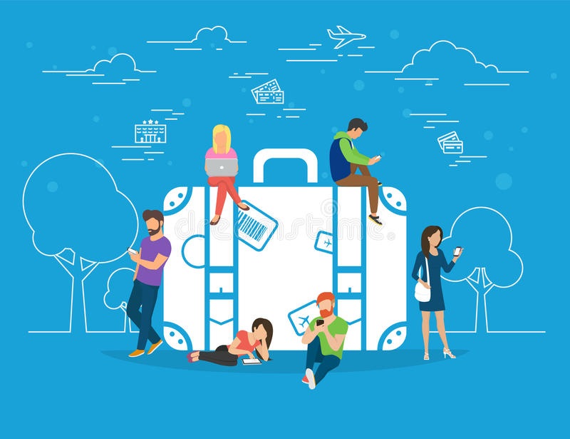 Онлайн гостиница резервирования и иллюстрация концепции билетов бесплатная иллюстрация