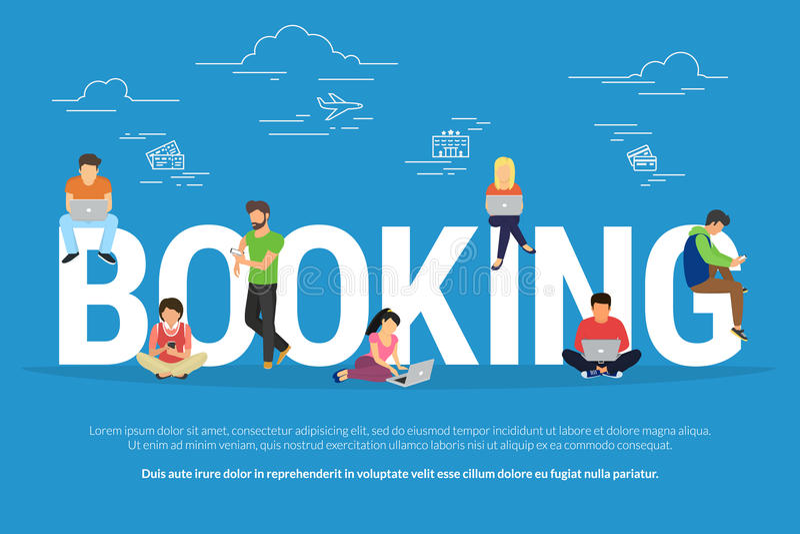 Онлайн гостиница резервирования и иллюстрация концепции билетов иллюстрация вектора