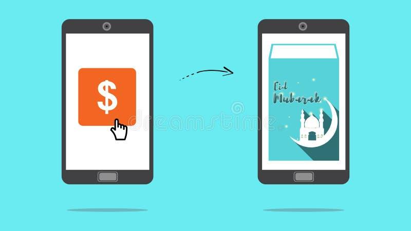 Онлайн деньги перехода иллюстрация вектора