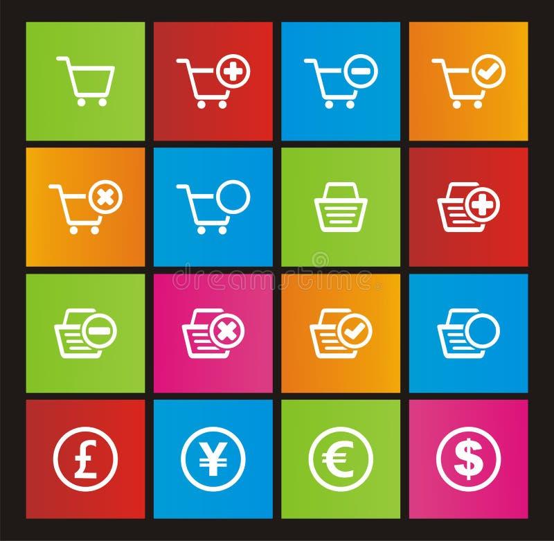 Онлайн значки стиля метро магазина иллюстрация вектора