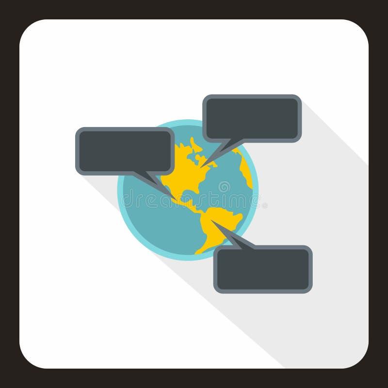Онлайн значок болтовни по всему миру, плоский стиль иллюстрация вектора
