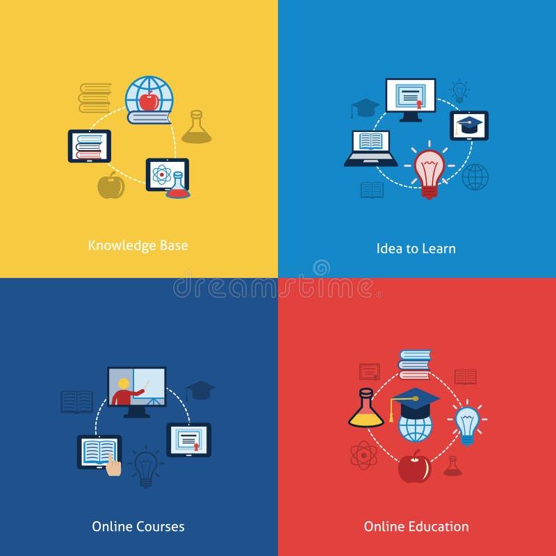 Онлайн значок образования плоский иллюстрация вектора
