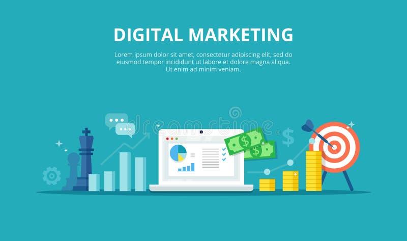 Онлайн иллюстрация маркетинга Бизнес-процесс интернета - абстрактное знамя в плоском стиле Концепция стратегии, аналитика, s иллюстрация вектора