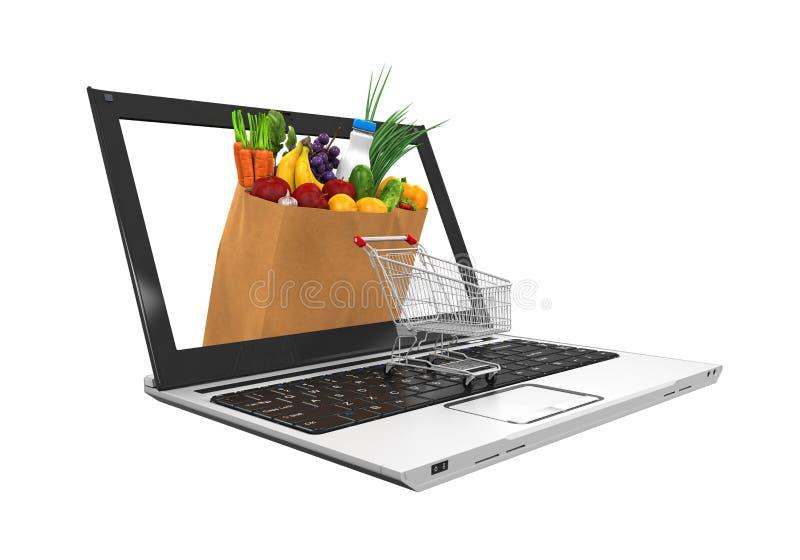 Онлайн иллюстрация посещения магазина бакалеи иллюстрация вектора
