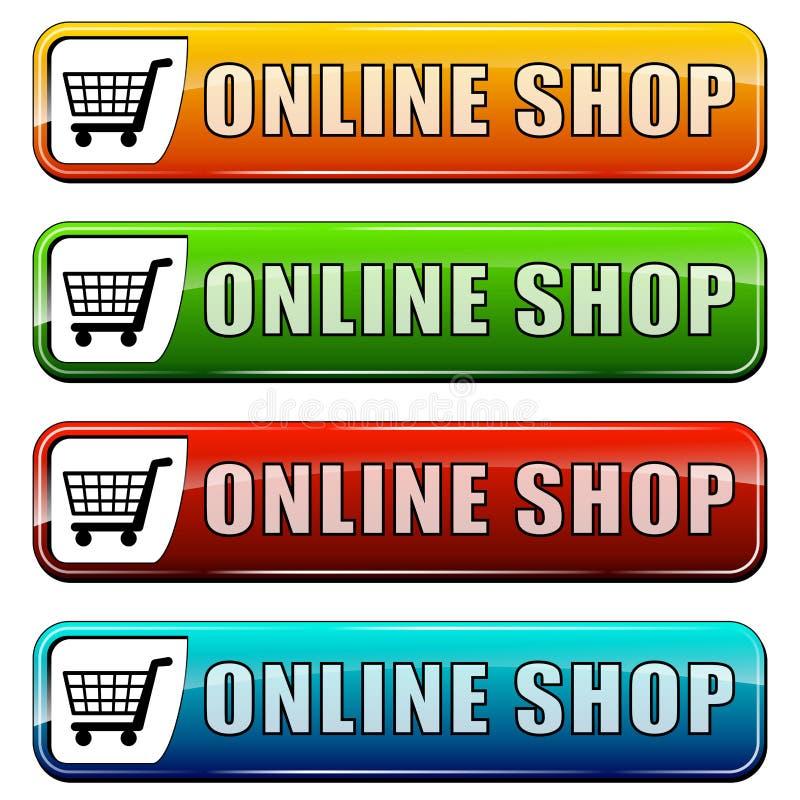 Онлайн кнопки магазина иллюстрация вектора