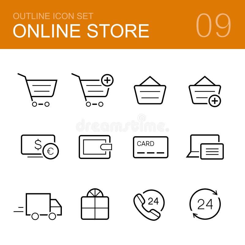Онлайн комплект значка плана вектора магазина иллюстрация вектора