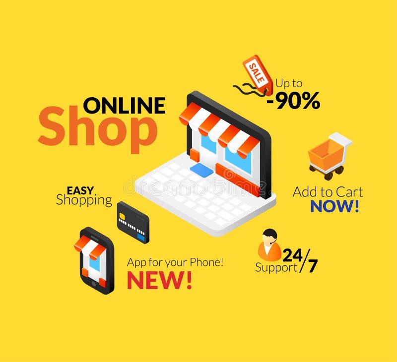 Онлайн комплект логотипа покупок иллюстрация штока