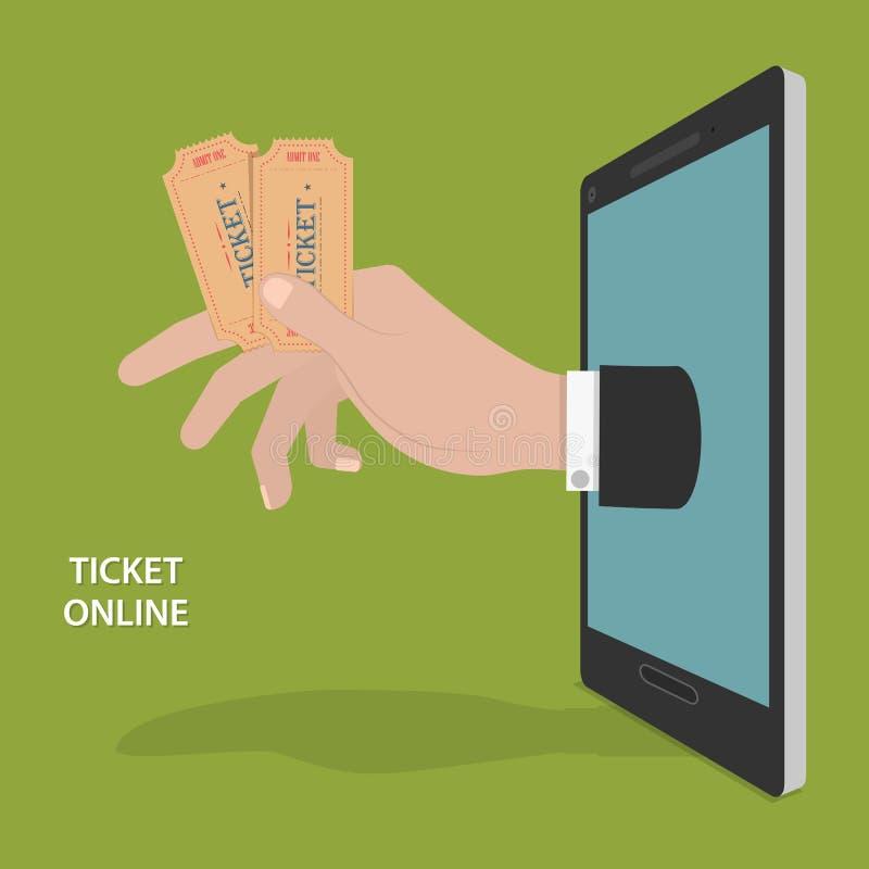 Онлайн концепция вектора заказа билета иллюстрация штока