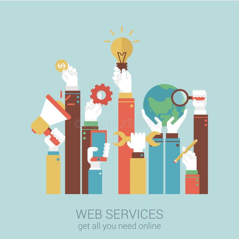 Онлайн концепция иллюстрации вектора стиля квартиры интернет-обслуживаний иллюстрация вектора