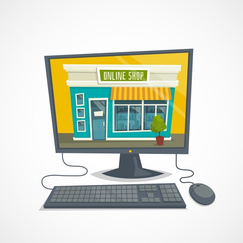 Онлайн концепция магазина с зданием компьютерной мастерской, мышью компьютера и клавиатурой, иллюстрацией шаржа вектора иллюстрация штока