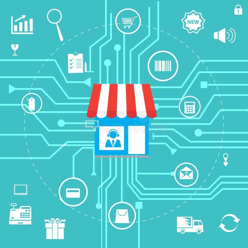Онлайн концепция маркетинга покупок и дела с плоскими значками конструирует также вектор иллюстрации притяжки corel иллюстрация штока