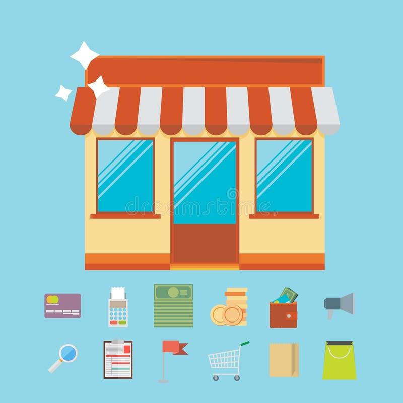 Онлайн концепция маркетинга покупок и дела с плоскими значками d бесплатная иллюстрация