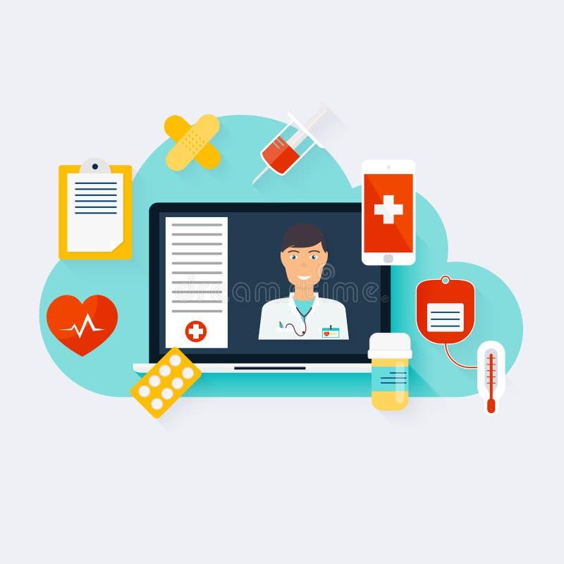 Онлайн концепция медицинской консультации Квартира вектора современная творческая иллюстрация вектора