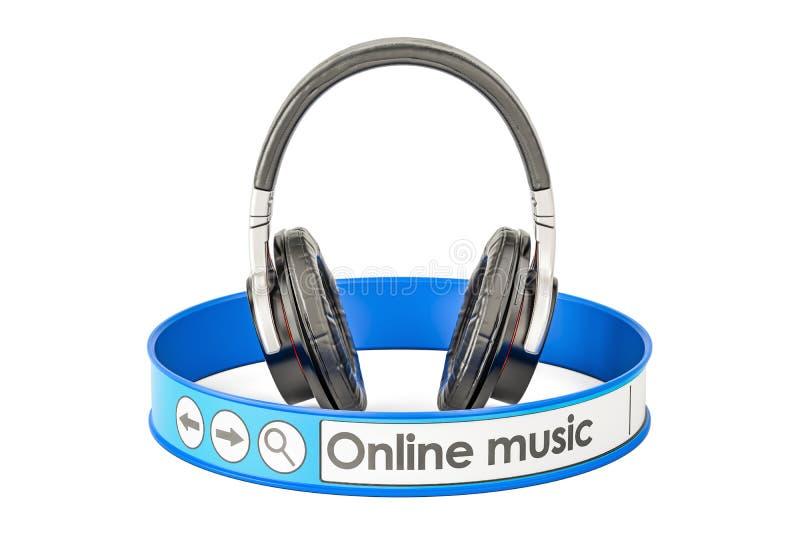 Онлайн концепция музыки, 3D иллюстрация штока
