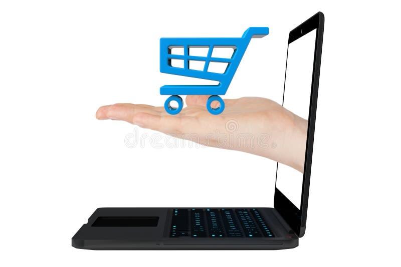 Онлайн принципиальная схема покупок. Значок магазинной тележкаи в руке с компьтер-книжкой стоковая фотография