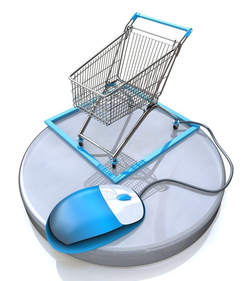 Онлайн концепция покупок интернета иллюстрация штока