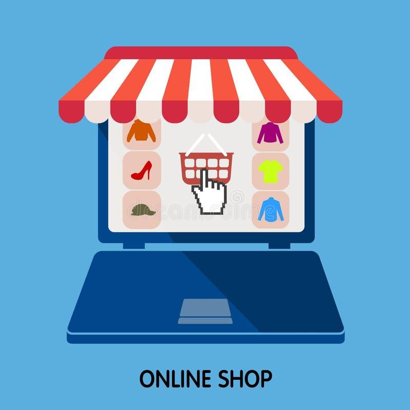 Онлайн магазин интернет продажи Плоский стиль иллюстрация штока