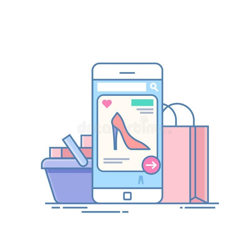 Онлайн магазин Концепция приобретения на интернете через применение на телефоне Мобильное устройство на предпосылке иллюстрация вектора