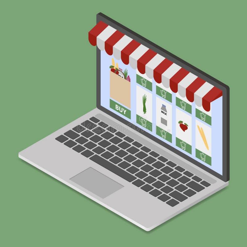 Онлайн магазин на современной компьтер-книжке бесплатная иллюстрация