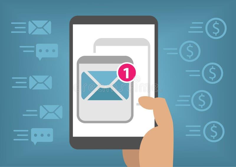 Онлайн маркетинг электронной почты для мобильных устройств любит умный телефон путем посылка информационых бюллетеней бесплатная иллюстрация