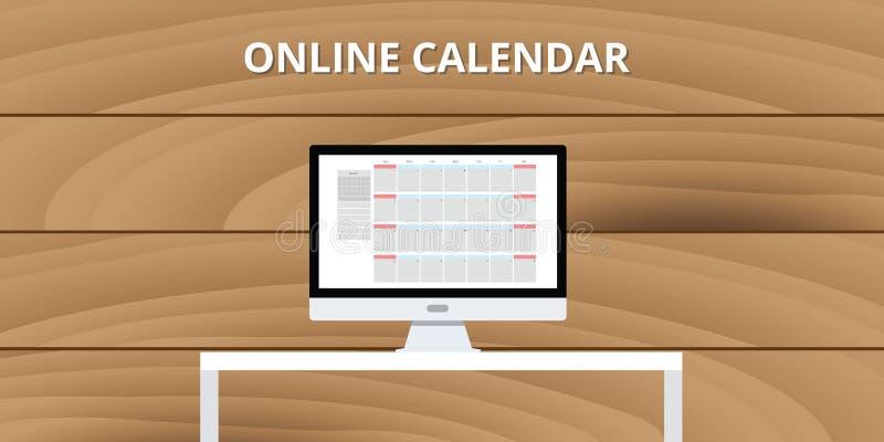 Онлайн настольный компьютер компьютера ПК концепции интернета календаря иллюстрация вектора