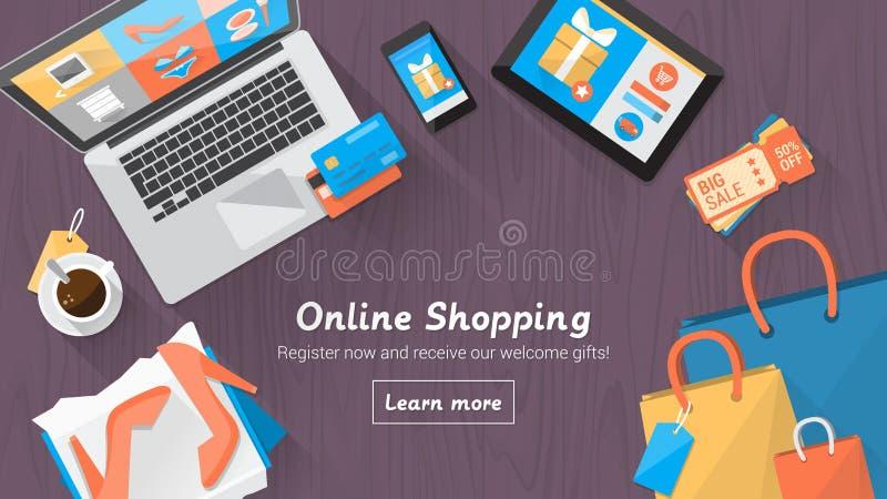 Онлайн настольный компьютер покупок бесплатная иллюстрация