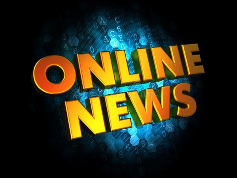 Онлайн новости - слова золота 3D иллюстрация вектора