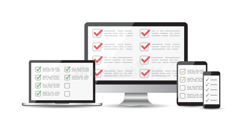 Онлайн обзор, комплект контрольного списока Таблетка, компьютер, передвижной scr пробела бесплатная иллюстрация