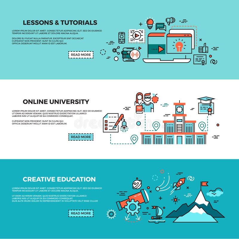 Онлайн образование, на-линия курсы подготовки, подготовка персонала, установленные знамена вектора консультаций сети иллюстрация штока