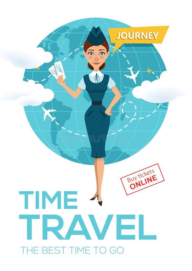 Онлайн обслуживание резервирования полета Плакат рекламы, знамя Stewardess держит авиабилеты и предложения для того чтобы пойти н бесплатная иллюстрация