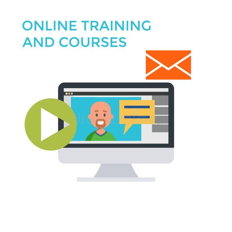Онлайн обучение течет значок Плоский монитор дизайна вектор бесплатная иллюстрация