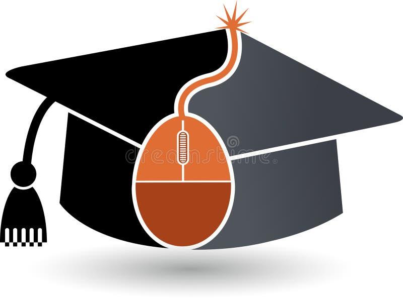 Онлайн логотип образования иллюстрация штока