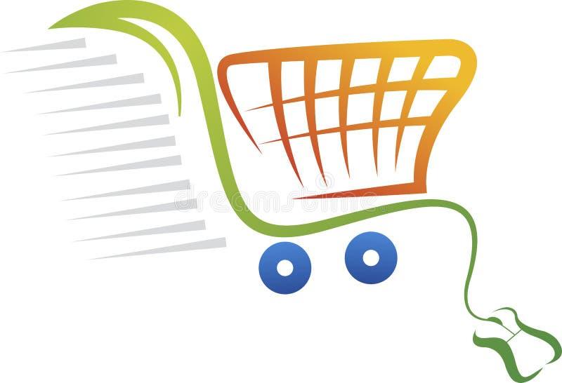 Онлайн логотип приобретения иллюстрация вектора