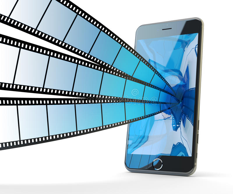 Онлайн передвижное фото и видео деля и течь концепцию иллюстрация штока