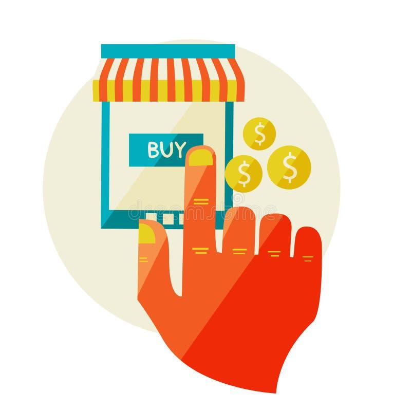 Онлайн покупки. Продажа, компьтер-книжка и умный телефон с тентом. иллюстрация вектора