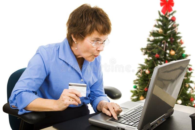 Онлайн покупки рождества стоковая фотография rf