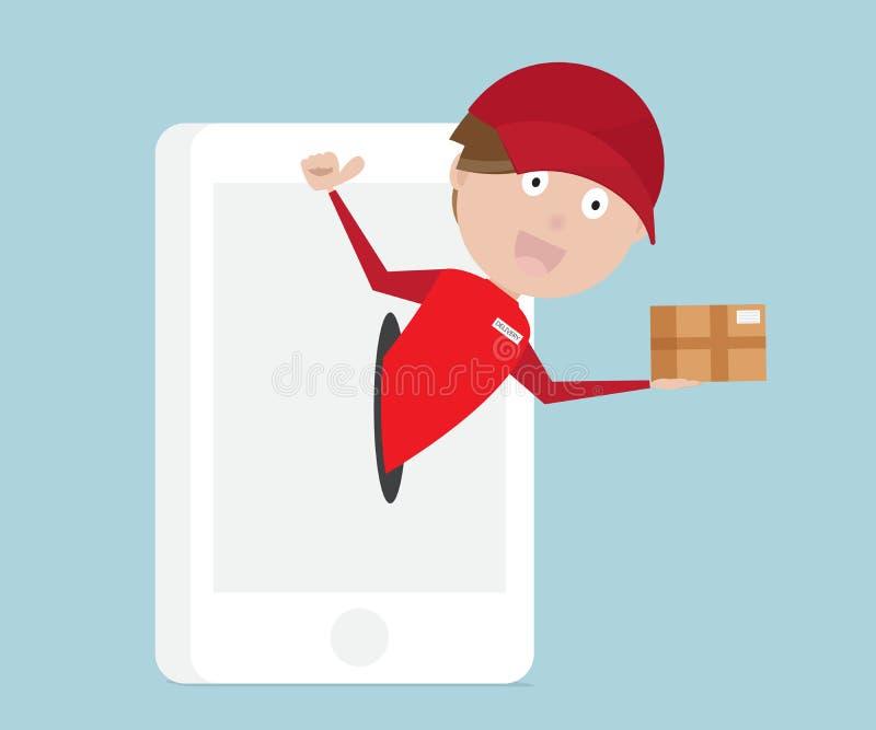 Онлайн покупки с быстрыми обслуживаниями поставки от передвижного smartpho иллюстрация штока