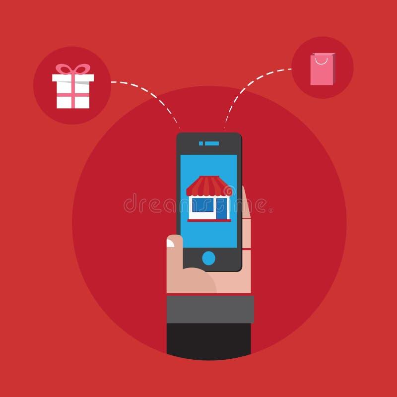 Онлайн покупки с заказом smartphone в наличии иллюстрация штока