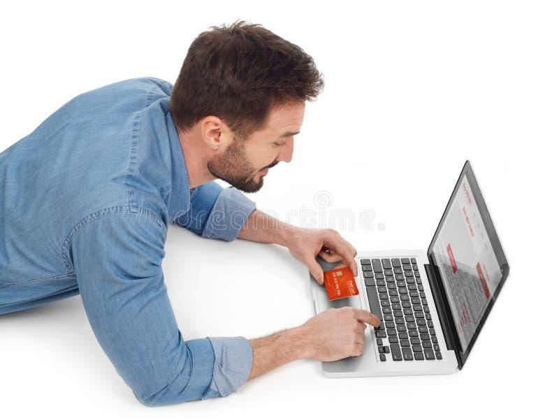 Онлайн покупки с карточкой стоковая фотография