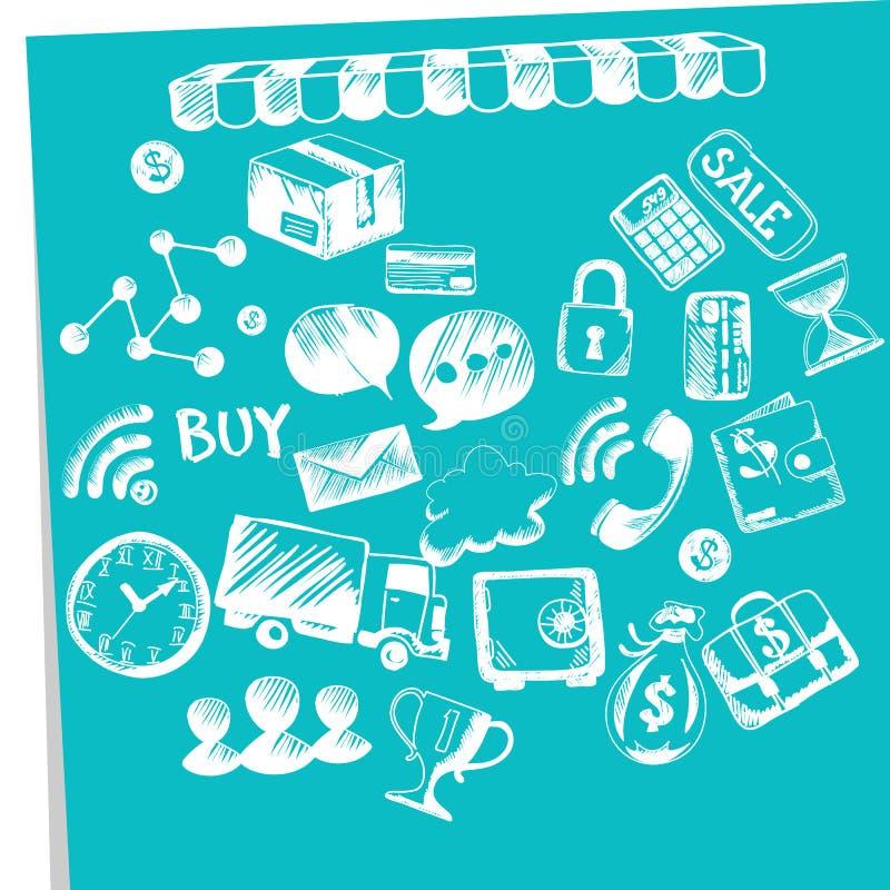 Онлайн покупки, электронная коммерция, поставка, оплаты иллюстрация вектора