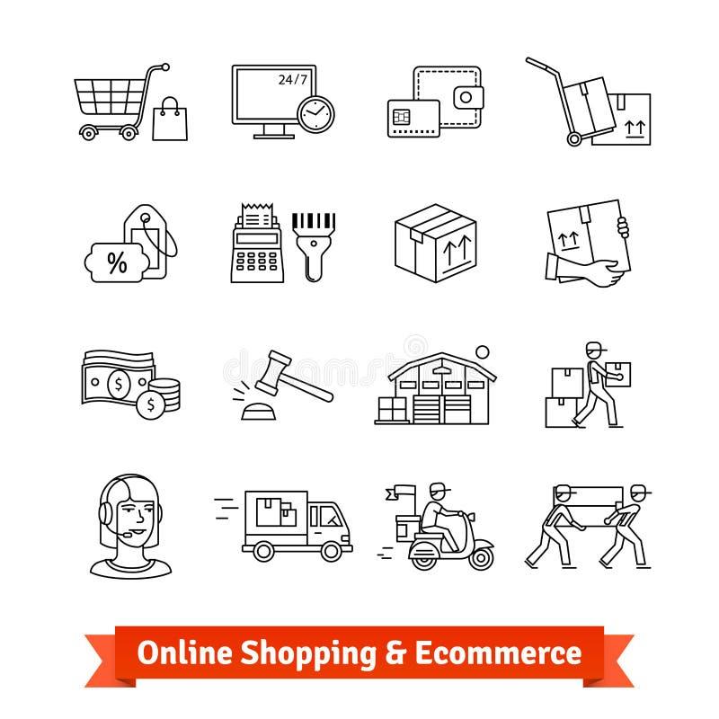 Онлайн покупки, ecommerce, обслуживания и поставка иллюстрация вектора