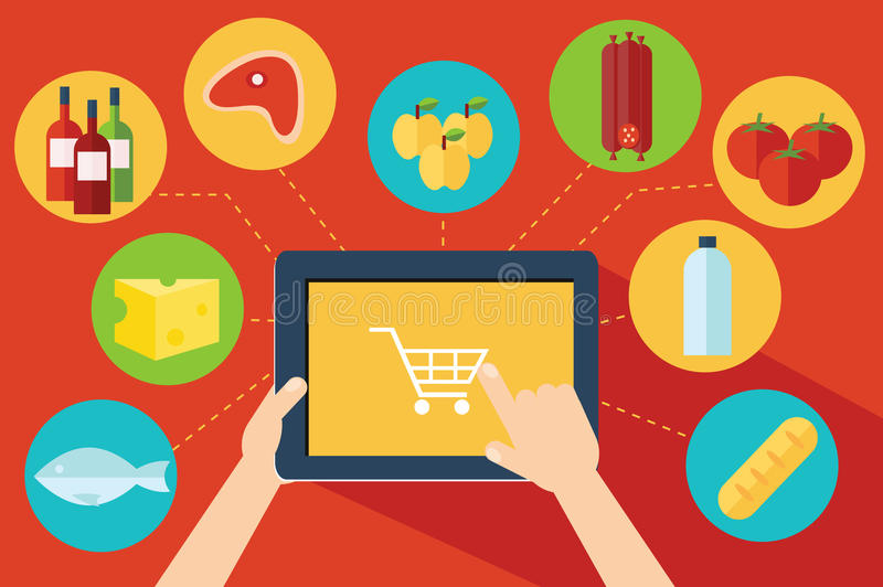 Онлайн поход в магазин за едой иллюстрация вектора