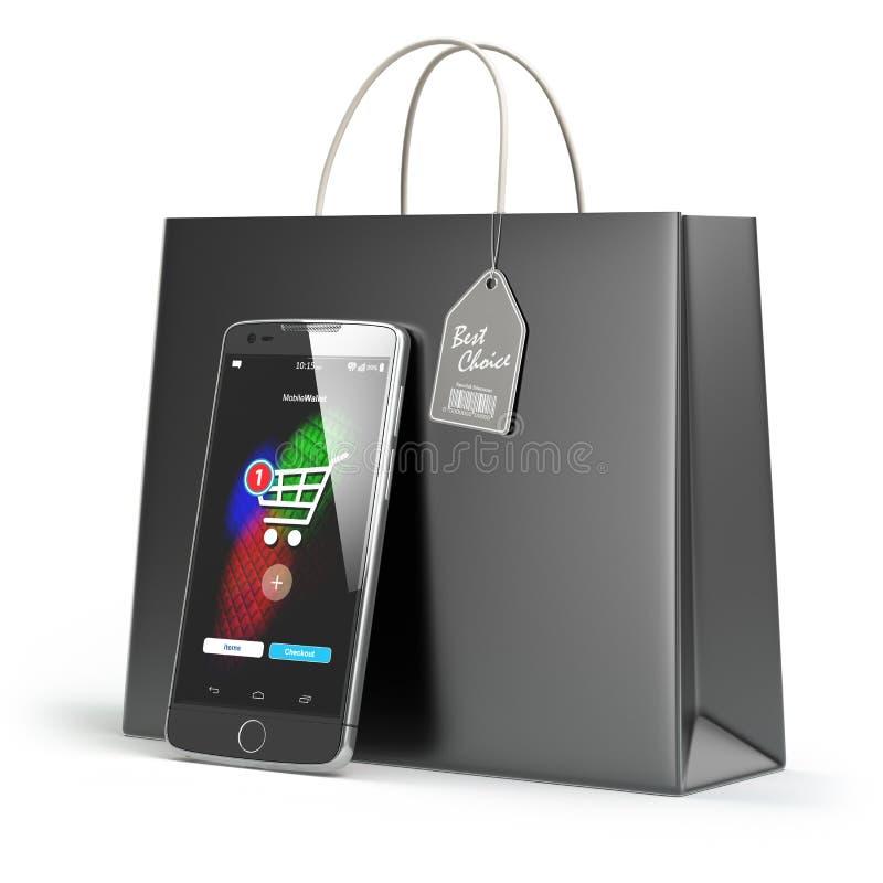 Он-лайн принципиальная схема покупкы Мобильный телефон или smartphone с покупками иллюстрация вектора