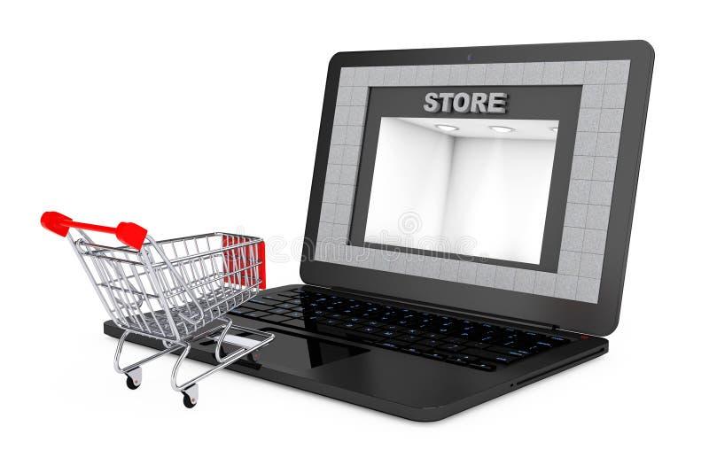 Он-лайн принципиальная схема покупкы Тележка Shoppping над компьтер-книжкой с магазином b иллюстрация штока