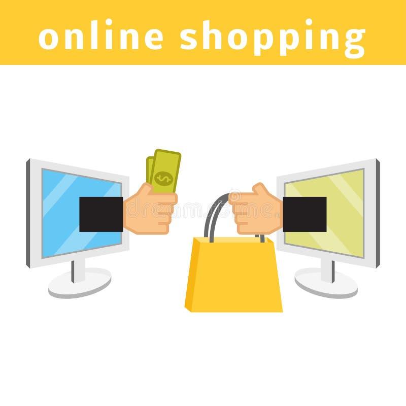 Он-лайн принципиальная схема покупкы иллюстрация штока