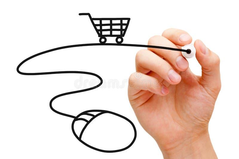 Онлайн принципиальная схема покупок стоковое изображение