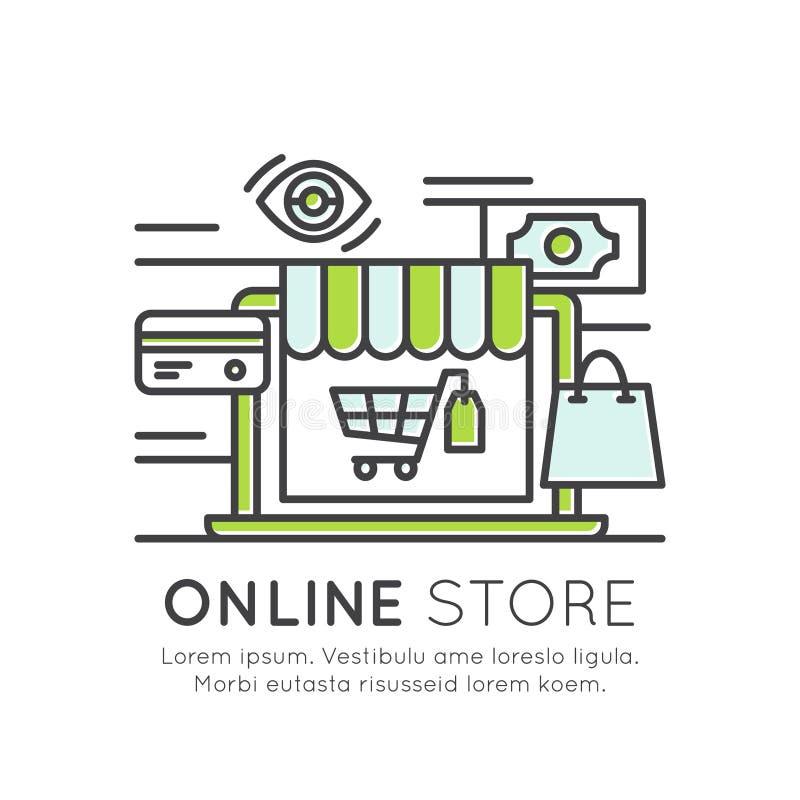 Онлайн рынок магазина, тележка корзины для товаров, приобретение, интернет-серфинг, приобретение наилучшего предложения иллюстрация вектора