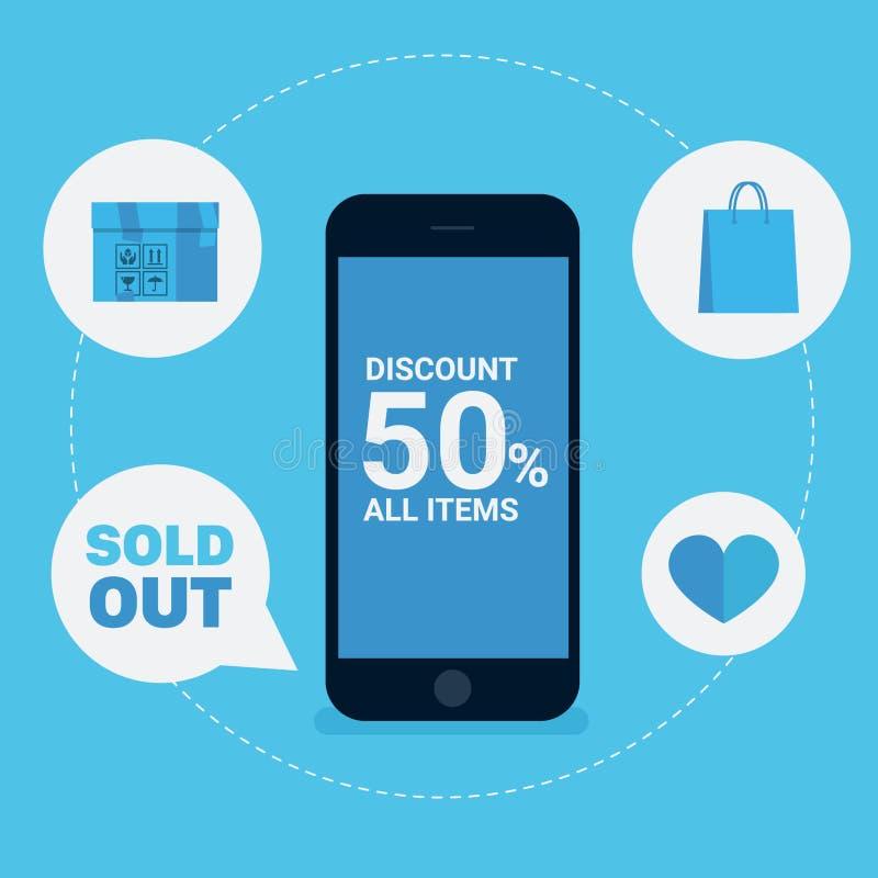 Онлайн скидка покупок с умным телефоном стоковая фотография rf