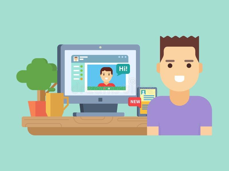 Онлайн социальное сообщение иллюстрация штока