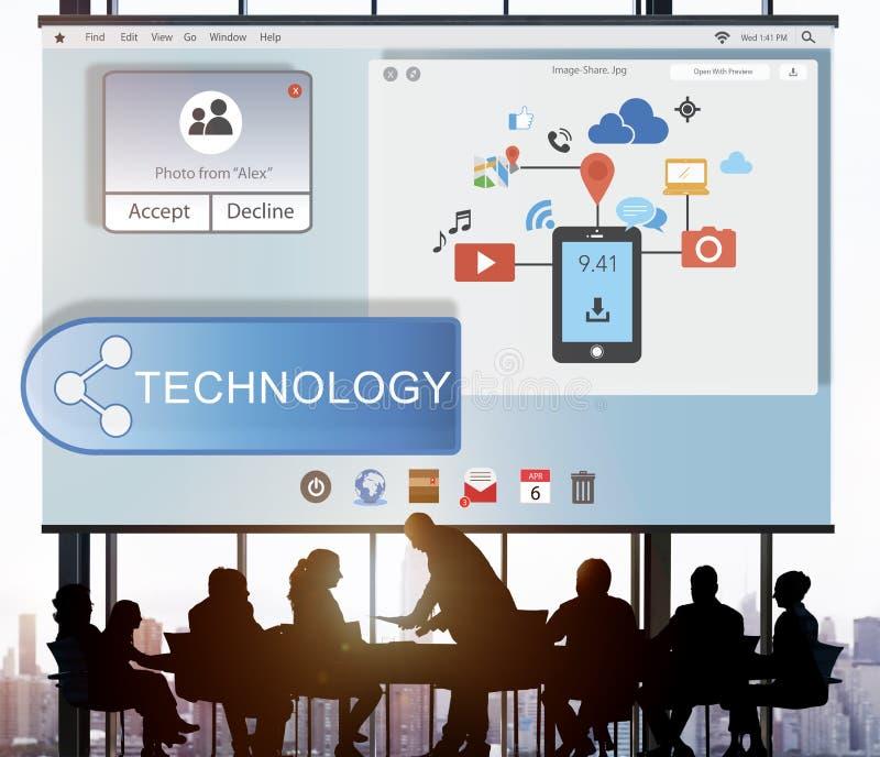 Онлайн течь концепция беспроводной технологии передачи технологии стоковая фотография